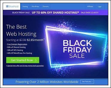 黑色星期五Bluehost 2018年Black Friday优惠